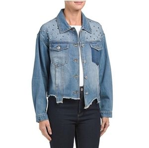 Midnight Muse Studded distressed crop Jean Jacket